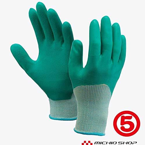 丸五 作業手袋 ソフト楽らく #175 甲抜き天然 ゴム手袋 1双 農作業 ガーデニング向け S グリーン