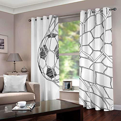 WAFJJ Vorhang Blickdicht Ösenschal Fußball Thermo Gardinen Blickdicht Vorhänge für Kinderzimmer/Schlafzimmer Gardine Größe:2 x B117 x H138cm