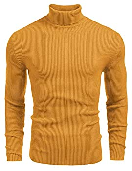 COOFANDY Mens Ribbed Slim Fit Knitted Pullover Turtleneck Sweater Yellow