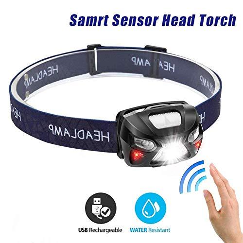 Linterna Frontal,7000Lm Potente Linterna frontal LED recargable Cuerpo del cuerpo Sensor de movimiento Cabeza Linterna Linterna para acampar Lámpara con USB