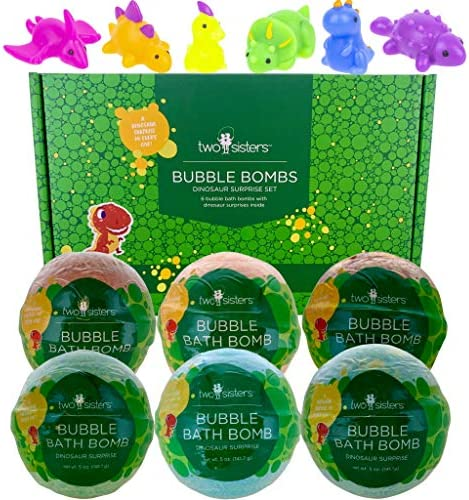 Dinosaur Squishy Bubble Bath Bombs for Kids with Surprise Dino Squishy Toys Inside by Two Sisters product image
