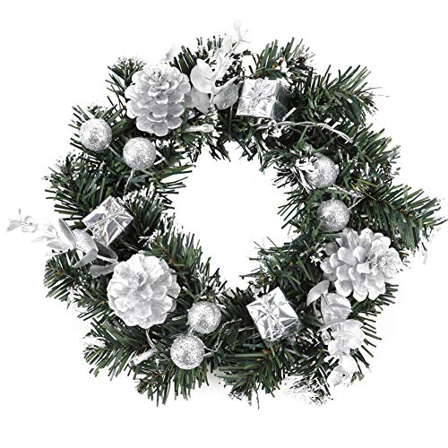 Newfly Winter Land Red Silver Christmas Wreath with Led Lights, Ball Ornaments, Decorations for Front Door, Living Room Wall