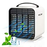 Portable Air Conditioner, NASUM Personal Space Air Cooler, Rechargeable Evaporative Air Fan with 3 Speeds Mini Cooling Fan with LED Light for Bedroom, Home, Office, Camping
