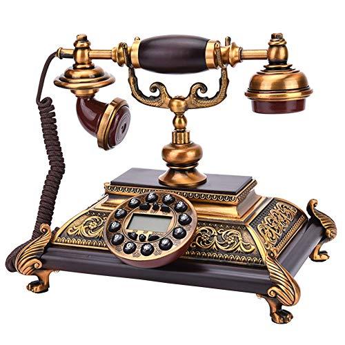 GXLXY Europea d'antiquariato Fisso Telefono, Button Cellulari Comunicatore telefonico Classic Corded Il Retro Antico Fisso con la Classica Campana di Metallo Vivavoce E Funzione di ricomposizione