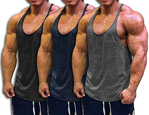 "Muscle Cmdr Men's Bodybuilding Stringer Tank Tops Y-Back Gym Fitness T-Shirts, 3-pack:blak/Gray/Navy Blue, M:37""-38"""