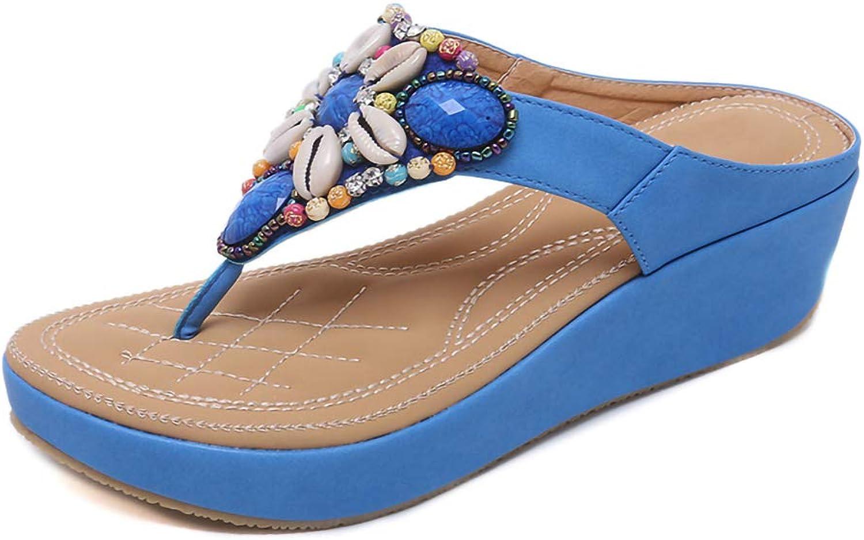Women's Open Toe Sandals Summer, Pool Beach shoes Bohemia Slippers Flip Flops Flat Sandals Beach Thong shoes Size,bluee,6MUS