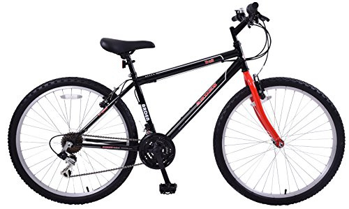 Ammaco. Arden Trail 26' Wheel Mens Adults Womens Small 16' Frame Mountain Bike 21 Speed Black/Red