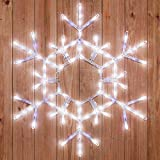 Kringle Traditions 36' LED Folding Twinkle Snowflake Christmas Decoration, Cool White Lights