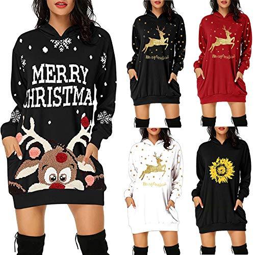 Amaeen Damen Kleider Elegant Übergröße Mode Weihnachten Drucken Kapuzenpullover Geschenke für Frauen