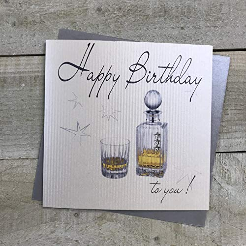 witte katoenen kaarten Handgemaakte Heren Happy Birthday Card Whiskey, Wit