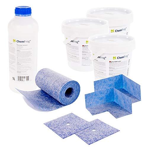 Chemfrog® Dichtungs-Set CDS-450 | 4,5 kg Fliesenabdichtung für Innen und Außen (Inkl. Grundierung, Wandmanschetten & Dichtband)