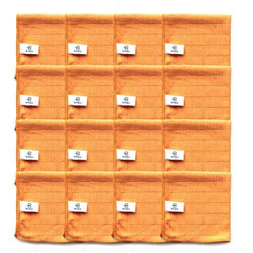Good Day Microfasertücher (16 Stück) by BUNEO | 16 x orange (Küche/Bad), jeweils 30 x 30 cm