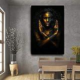 Geiqianjiumai Cartel de la Pintura al óleo de la Mujer India Africana Negra y...