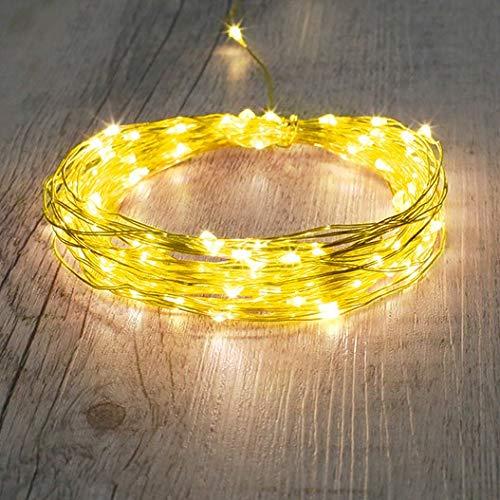Skylantern - Guirnalda de oro 100 microLED, color blanco cálido, 10 m