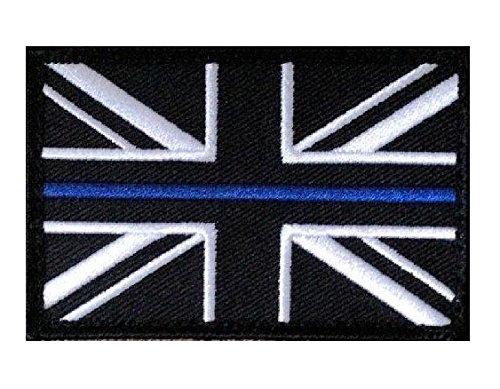 Union Jack ZILVER-DINE BLUE LINE POLICE Force Patch Loop & Haak UBAC terug! | Borduurwerk Hoge Kwaliteit Ijzer op Naai op Geborduurde Patch badges voor kleding jassen t-shirts jassen tassen hoeden portemonnees