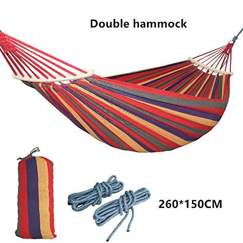 ZGRZ Nouveau 260 * 150 cm 2-3 Personnes en Plein air Toile Camping hamac coude bâton en Bois Stable Hamak Jardin balançoire Chaise Suspendue Hangmat Bleu Rouge
