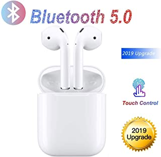 Touch earphones bluetooth wireless,Smart headphones with outdoor charging box,Stereo 3D surround earbuds,Earphones with microphone,In-ear bluetooth earbuds compatible with Apple Android Samsung iPhone