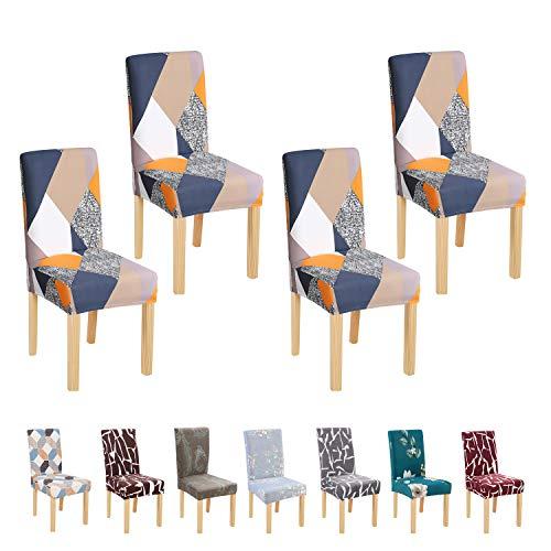BED COTTON Fundas para Sillas Pack de 4, Fundas Decorativas para Sillas de Comedor, Elásticas Chair Covers Lavables Desmontables Cubiertas para Sillas Muy Fácil de Limpiar Duradera, El Cubo de Rubik