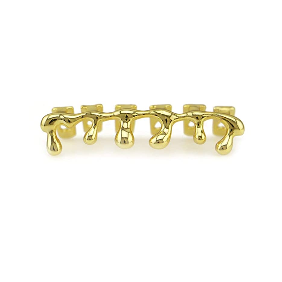 初期ケント全体にマウストップデンタルグリル用 14 kローズゴールドメッキヒップホップの歯ドリップグリルキャップ下部ボトムグリル ゴールドメッキヒップホップポーカー歯キャップ (色 : ゴールド)