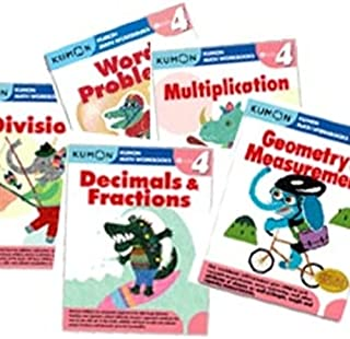 Kumon Grade 4 Math workbooks (5 books) - Decimals & Fractions, Multiplication, Division, Geometry & Measurement and Word Problem