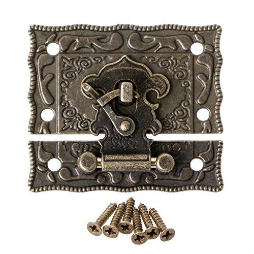 Folewr 55 mm x 47 mm estilo vintage pestillo caja de madera cerrojo cojín pecho cerradura bronce tono antiguo