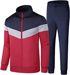 Mens Tracksuit Sets Bottoms Full Zip Jogging Gym Suit Jacket and Trousers,Red,XXL