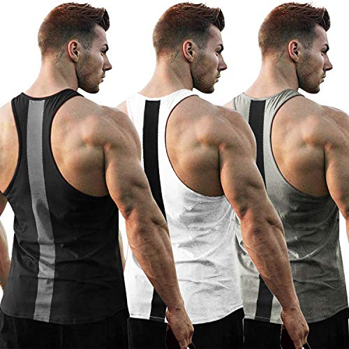COOFANDY Men's 3 Pack Workout Tank Tops Dry Fit Gym Y Back Muscle Tees Fitness Bodybuilding T Shirts