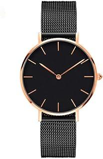TRIBBUTUM - Reloj de Cuarzo Color Negro con Esfera Dorada - Reloj para Mujer Namibia Iluminated - Correa Malla Acero Inoxi...