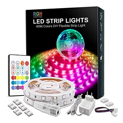 Tira de luces LED RGB de 10 m, 24 V, con mando a distancia y fuente de alimentación, no resistente al agua 5050SMD 300 LED para decoración interior