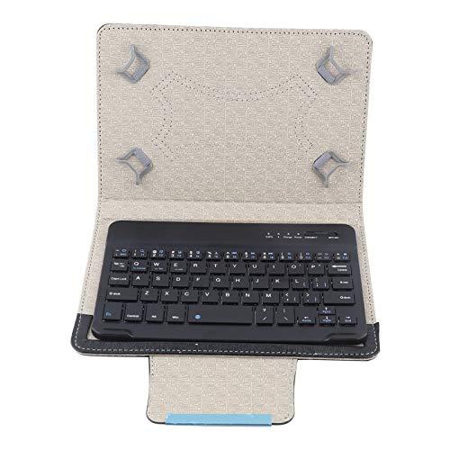 Teclado Bluetooth para tableta, Funda protectora universal de PU + Teclado Bluetooth teléfonos móviles de 7 pulgadas (Funda negra / blanca + teclado, funda negra / blanca + teclado táctil)(NEGRO 314)