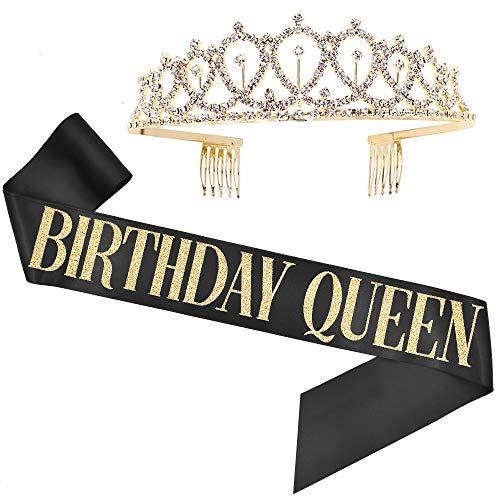Birthday Queen Sash & Rhinestone Tiara Set - Birthday Sash Birthday Gifts Birthday Party Favors (Black/Gold)