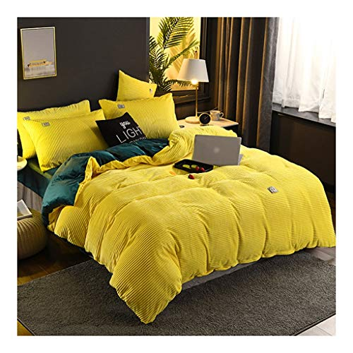 Winter Bed Thick Coral Duvet Cover 4 Pieces Double Sided Bedding Set Thick and Soft Cloth Comfortable and Soft Design of which 1 Bed Sheet 1 Duvet Cover and 2 P