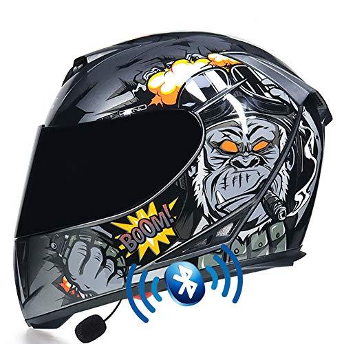 Casco de Moto Bluetooth Integrado, Casco Integral ECE Homologado con Guantes y Mascarilla, Cascos de Moto Scooter con Doble Anti-Niebla Visera para Mujer Hombre Adultos 55-64CM