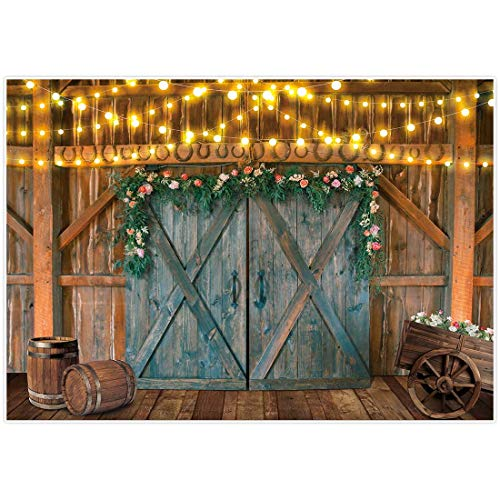 Allenjoy Rustic Barn Western Cowboy Floral Backdrop Photography Autumn Rural Door Wood Wedding Bridal Baby Shower Decor Banner Kids Newborn Photo Booth Props Flower Cart Oak Barrel 7x5ft Background