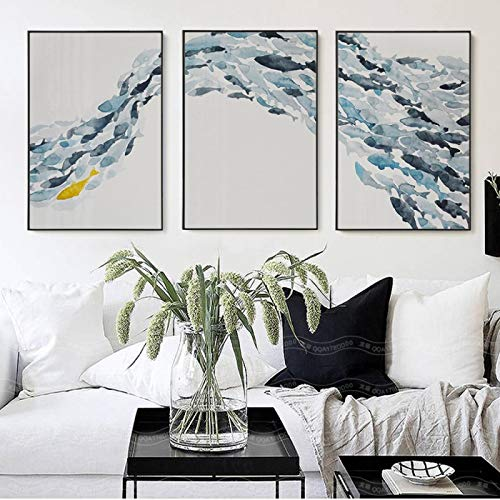 Druckt Wandkunst Nordic Simple Abstract Fish Group Poster und Print Canvas Painting Dekoratives Bild für Wohnzimmer-60x80cmx3 No Frame