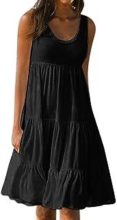 JUTOO Damen Urlaub Sommerkleid solide ärmellose Party Strandkleid, rein, lässig, Mode Dress