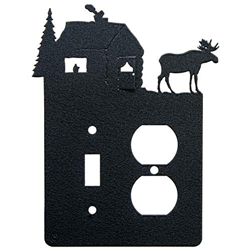 Moose & Cabin Toggle Light Switch & Single Duplex Wall Plate (Single Toggle with Power, Black)