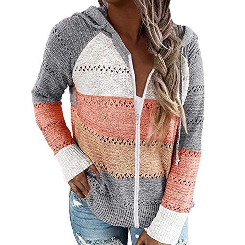 knowledgi Sudadera con capucha con cremallera para mujer, de manga larga, a contraste con costuras a rayas, jersey largo de punto