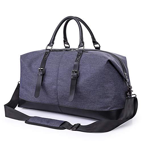 Holdall Plus Reistas voor dames en heren, van zeildoek, sporttas, duffel, tote, bagage, leer, draagbaar, weekend, s nachts schoudertassen voor op reis, kleur: blauw