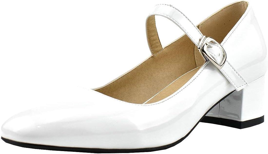 MAVMAX Women's Patent セール特別価格 Leather Mary 選択 Block Rockabil Mid Janes Heel