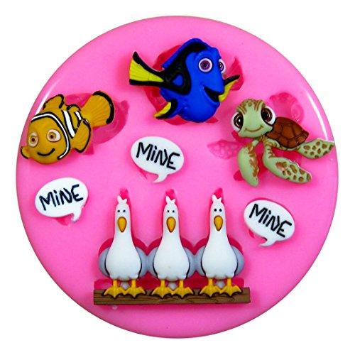 Buscando a Nemo Molde de silicona para la torta de Decoración Pastel de Cupcake Toppers Glaseado Sugarcraft Tool por Fairie Blessings