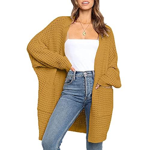 Herbst Und Winter Damen Casual Fashion V-Ausschnitt Einfarbig Strickjacke Pullover Lose Langarm Tasche Mittellanger Mantel Damen