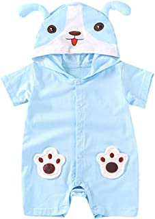 Newborn Baby Boy Girls Cute Animal Cartoon Hoodie Infant Button Rompers Jumpsuit Outfits Clothes