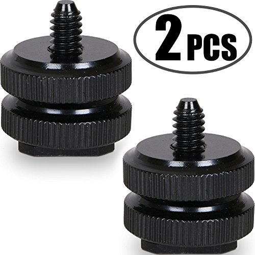 Camera Hot Shoe Mount to 1/4'-20 Tripod Screw Adapter Flash Shoe Mount for DSLR Camera Rig (Pack of 2)