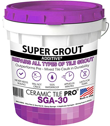 SGA 30 - Super Grout Additive Premium Waterproof Tile Grout Repair Kit (Grout Sold Separately) Includes Epoxy Sponge - Syringes - Mixing Cups & Sticks - Makes 90 oz Epoxy Grout - Made in USA