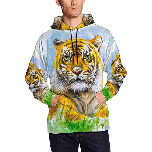 Watercolor Tiger Men's Hoodies Sweatshirt Pullover S