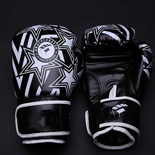 Guantoni da boxe Guanti da boxe Double Muay Thai PU in pelle Boxing Guanti da uomo e donna Formazione MMA Grant Guanti da inscatolamento Allenamento fitness ( Color : Black white 1 , US Size : 10oz )