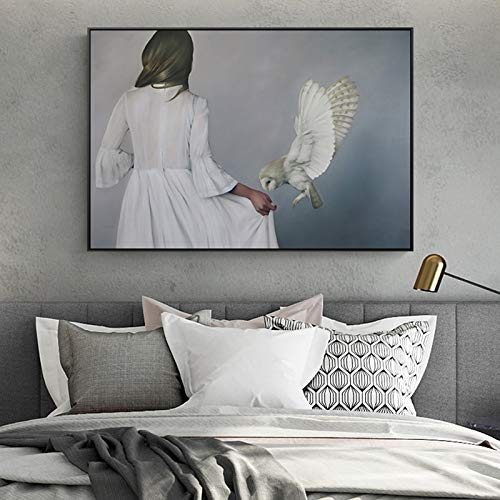 yaoxingfu Kein Rahmen Moderne Frau Im Weißen Kleid Leinwand ng Poster Drucken Einzigartige Wandkunst Bilder Für Wohnzimmer Schlafzimmer Cafe Minimalistischen Dekor 50x70cm