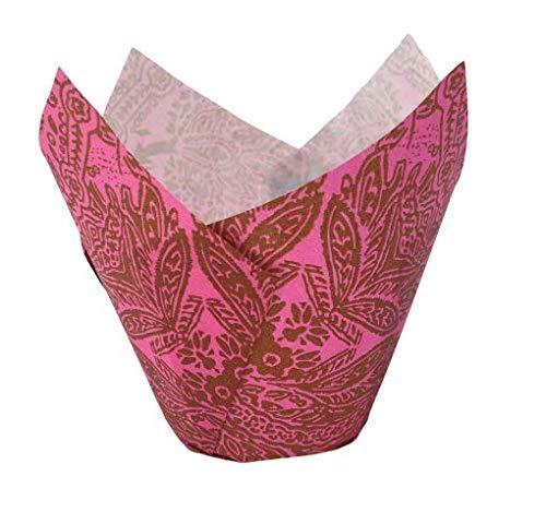 120 Muffin Tulip Wrap, Muffin Förmchen, Cupcake Papierbackform in Tulpenform Gemustert (Pink)