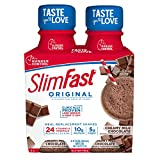 SlimFast Original - Weight Loss Meal Replacement Shakes - 10g of Protein & 5g of Fiber - Plus 24 Vitamins & Minerals per Serving - Creamy Milk Chocolate - 4 Count - Pantry Friendly